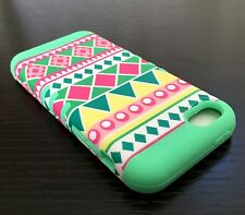 For iPhone 5C - HARD & SOFT RUBBER HYBRID SKIN CASE COVER MINT GREEN PINK AZTEC