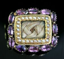 and Pearl Circa 1800 Antique Georgian Mourning Brooch Amethyst