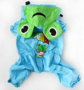 For SMALL Pet Cat Dog Rain Coat Jumpsuit One Piece Waterproof BLUE size XXS - XL