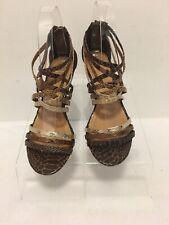 Paprika Strappy Wedge Sandal Back Zipper Multi Brown Tones Size 5 Medium
