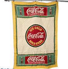 Vintage Coca-Cola Wall Hang Quilt Blanket Bedspread Apprx 60 x 84 Twin Bed Size