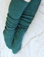 Womens Cable Knit Over The Knee Thigh High Socks OTK Green School Girl Thick Emo