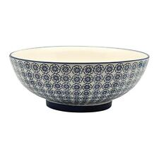 Patterned Porcelain Salad Serving / Fruit Bowl. Blue Flower - 304mm