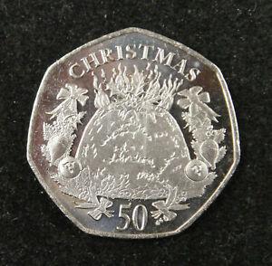 2016 IOM 50p Fifty Pence Christmas Coin XMAS PUDDING UNC Diamond finish