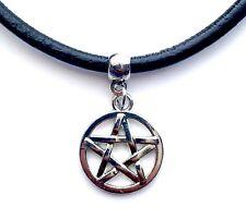 Leather Choker Charm Necklace Vintage Hippy Retro Black Cord Pentagram Star