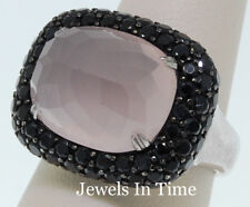 Ladies Black Diamond &Quartz Ring 18K White Gold 7