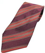 Canali Silk Men's Tie Burgundy Knit with Orange & Brown Stripes Made in Italy