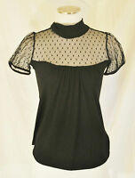 VTG 90s BoHo CHIC Black Sheer Stretch Hi Neck Blouse Top Shirt sz S