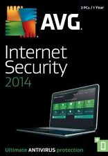 Brand New AVG Internet Security 2014- 3 PCs/1 Years Coverage