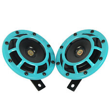12V LIGHT BLUE SUPER LOUD TWO ELECTRIC BLAST TONE HORN FOR CAR MOTORCYCLE