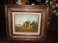 Original J Medina Signed Oil Painting On Board Barn Silo Country Decor Framed