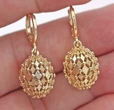 18K Gold Filled Earrings Rhombus Hollow Sphere Dangle Fashion Women Stud Hoop BR