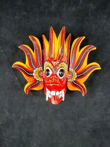 """Colorful Hand Carved Wood Wall Art Decor Fire Mask  6"""" x 7"""""""