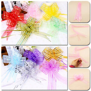 10pcs Decoration Party Wedding Birthday Gift Flower Bow Wrap Pull Ribbon Supply