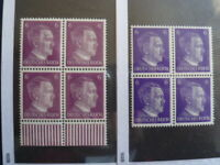 Nazi Germany Third Reich Hitler Block of 4 Unused Stamps Both6 Pfg Types -19-473