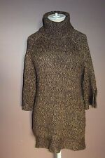 VINTAGE SUZIE Womens Brown Turtleneck Short Sleeve Tunic Size S