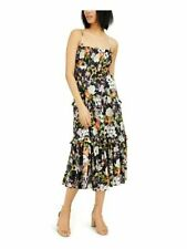 INC Womens Black Floral Spaghetti Strap Tea-Length Pleated Dress Size: M