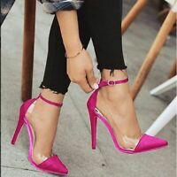 Fashion Women's Ankle Strap High Heels Pointed Toe Shoes Pumps Stiletto Sandals