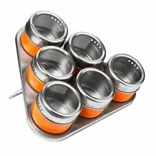 Set of 6 Spice Jars, Orange/Stainless Steel, Magnetic Triangular Tray