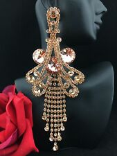 Huge Pageant Queen Flower Rose Crystal Chandelier Pierced Earrings Rose Tone