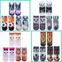 3 Pair Men Women 3D Printed Socks Novlety Animal Casual Funny Low Cut Ankle Sock