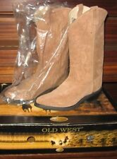 NEW Old West Cowboy Boots Men's 9.5D ~TAN SUEDE~ New w/TAGS and BOX