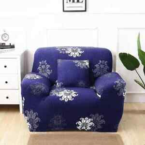 Pack of TWO Enova Home Navy Blue Elegant Polyester Stretch Armchair Slipcover