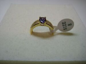 Ladies Ring with 1.45ct Amethyst & White Topaz in 14k Yellow Gold Plated