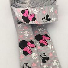 1m Disney Minnie Mouse Ribbon Grosgrain 22mm  Hair Bows Cakes Clips Girls