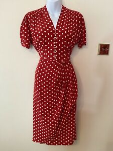 The Seamstress Of Bloomsbury Mabel Dress In Red Polka Dot Size 10 BNWT RRP £79