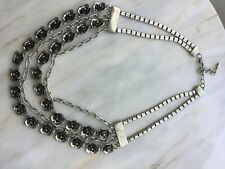 Rose silver tone statement necklace
