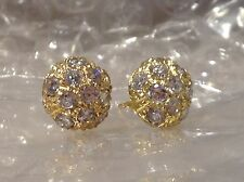9ct YELLOW GOLD DOME SHAPED CZ EARRINGS