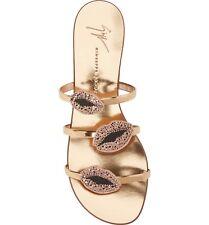 $750 Giuseppe Zanotti Lips Three-Band Flat Slide Rose Gold Sandal Women US 8.5