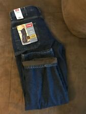 Mens Carpenter Size 34 x 32 Wrangler Blue Jeans Denim Fleece Lined Loose Fit NEW