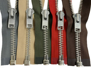 YKK #10 Aluminum Metal Separating Zippers Extra Heavy Duty Jacket Made in USA