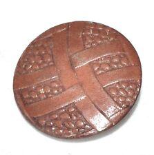 "1 gros bouton vintage "" Germany "" en cuir marron 30mm button"