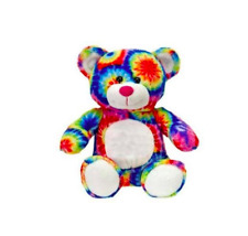 "Lovely Plush 8"" Sitting Tie Dye Bear Toy Doll Stuffed Animal"