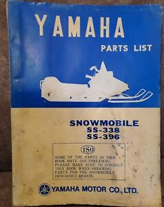 Original 1969 Yamaha SS-338 SS-396 Snowmobile Parts List/Manual SS338 SS396