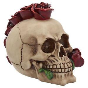 Rosehawk Gothic Skull With Red Rose Pagan Samhain Punk Halloween Decoration