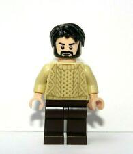 LEGO Flesh Minifigure Boy Man Cable Knit Aran Jumper Black Beard Hair Fisherman