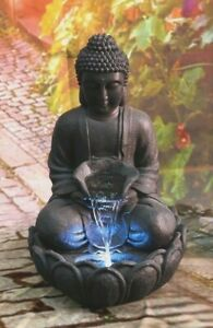 Buddha Resin Meditating Water Fountain with LED Light For Garden Decor
