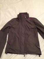 "SUPERDRY PROFESSIONAL ""THE WINDCHEATER"" JACKET COAT - GREY AND PURPLE - MEDIUM"