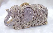Gold Clear~3D Elephant Pattern Handmade Austri Crystal~Bridal Evening Clutch Bag