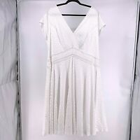Lane Bryant NEW Womens Size 22 White Lace Cap Sleeve Fit & Flare Midi Dress