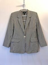 Womens LRL Ralph Lauren Black Beige Striped Cotton Blazer Jacket Boating XL