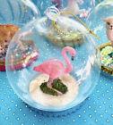 Glass Ornament Cloche Pink Flamingo Beach Summer Vacation Swim Florida Bird Zoo