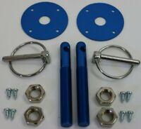Blue Aluminum Hood Pin Set Chrome Hardware Chevy Ford Mopar Drag Racing Race SBC