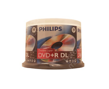 50 PHILIPS Double Layer DVD+R discs; 50pk cakebox 8X 8.5GB 240 mins DR8S8B50F/17