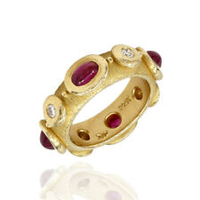 Cabochon Ruby & Diamond Etruscan Eternity Band Style in 22K Yellow Gold | JH