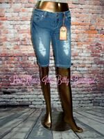 NWT CLASH PREMIUM Womens Distressed LoW-RiSe Denim Bermuda Shorts JEANS Size 7